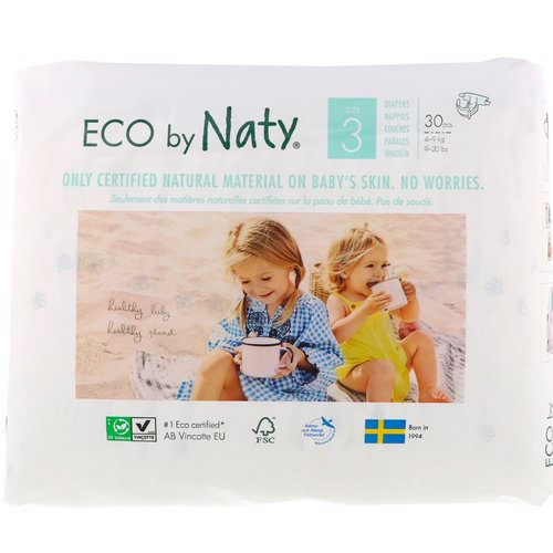 Naty, Diapers for Sensitive Skin, Size 3, 9-20 lbs (4-9 kg), 30 Diapers Review