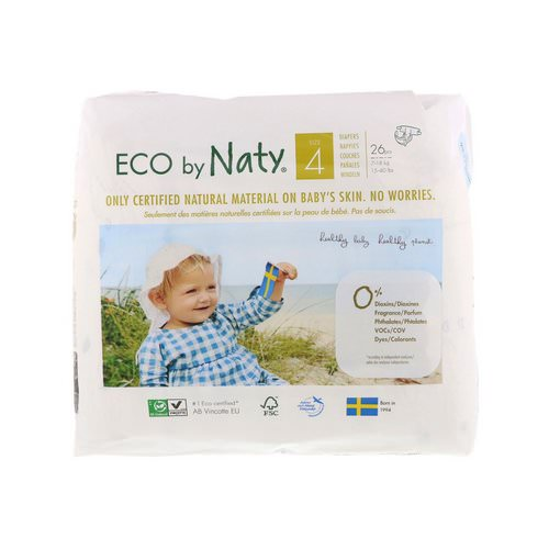 Naty, Diapers for Sensitive Skin, Size 4, 15-40 lbs (7-18 kg), 26 Diapers Review