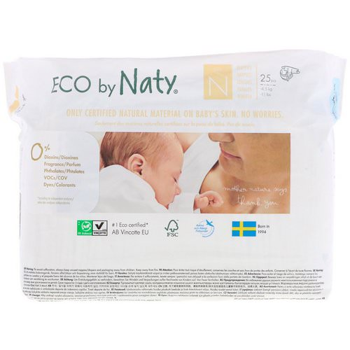 Naty, Diapers, Size N, -11 lbs (-4,5 kg), 25 Diapers Review