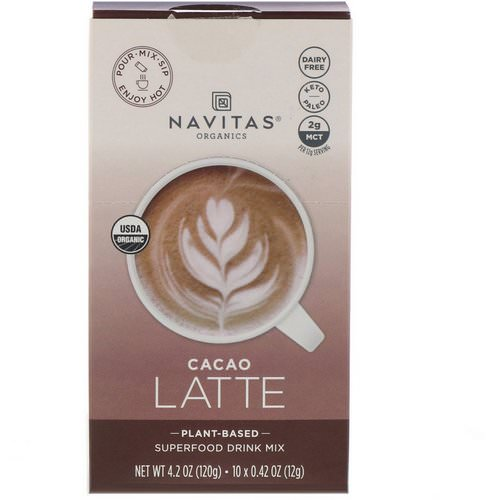 Navitas Organics, Latte Superfood Drink Mix, Cacao, 10 Packets, 0.31 oz (9 g) Each Review