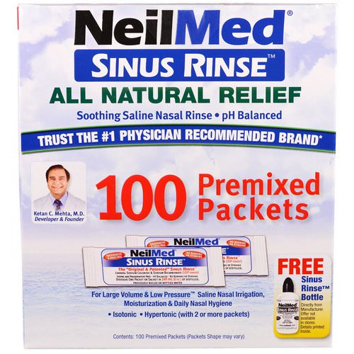 NeilMed, Sinus Rinse, All Natural Relief, 100 Premixed Packets Review