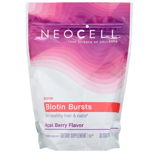 Neocell, Biotin Bursts, Acai Berry Flavor, 10,000 mcg, 30 Soft Chews Review