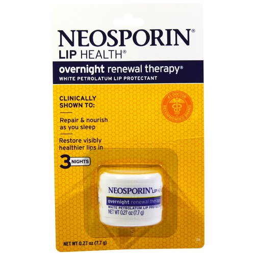 Neosporin, Overnight Renewal Therapy, White Petrolatum Lip Protectant, 0.27 oz (7.7 g) Review