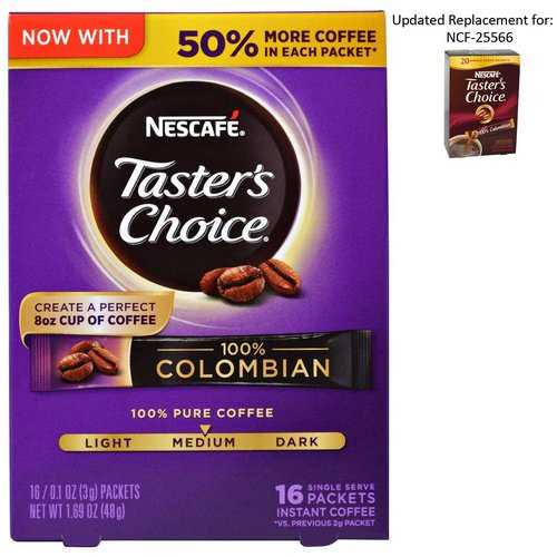 Nescafe, Taster's Choice, Instant Coffee, 100% Colombian, 16 Single Serve Packets, 0.1 oz (3 g) Each Review