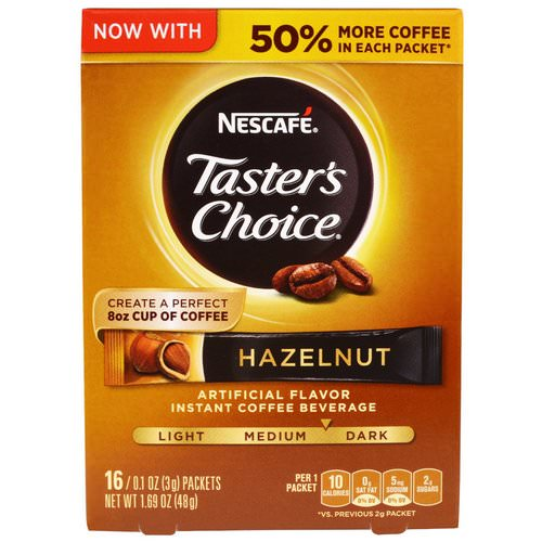 Nescafe, Taster's Choice, Instant Coffee Beverage, Hazelnut, 16 Packets, 0.1 oz (3 g) Each Review