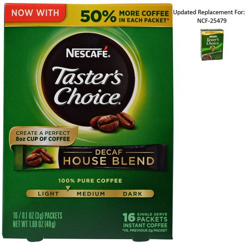 Nescafe, Taster's Choice, Instant Coffee, Decaf House Blend, 16 Single Serve Packets, 0.1 oz (3 g) Each Review