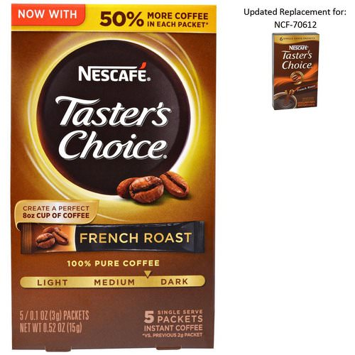 Nescafe, Taster's Choice, Instant Coffee, French Roast, 5 Single Serve Packets, 0.1 oz (3 g) Each Review
