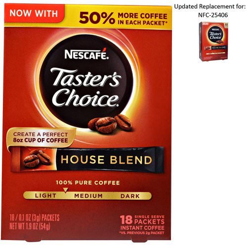 Nescafe, Taster's Choice, Instant Coffee, House Blend, 18 Single Serve Packets, 0.1 oz (3 g) Each Review