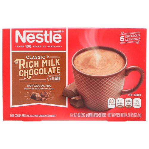 Nestle Hot Cocoa Mix, Rich Milk Chocolate Flavor, 6 Packets, 0.71 oz (20.2 g) Each Review