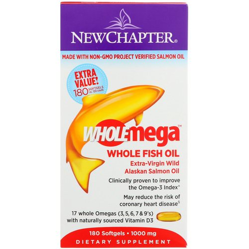 New Chapter, Wholemega, Extra-Virgin Wild Alaskan Salmon, Whole Fish Oil, 1000 mg, 180 Softgels Review