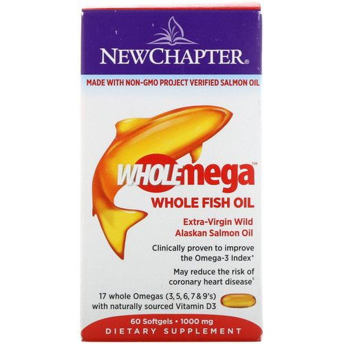 New Chapter, Wholemega, Extra-Virgin Wild Alaskan Salmon, Whole Fish Oil, 1,000 mg, 60 Softgels Review