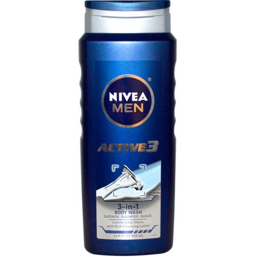 Nivea, Men, 3-in-1 Body Wash, Active 3, 16.9 fl oz (500 ml) Review
