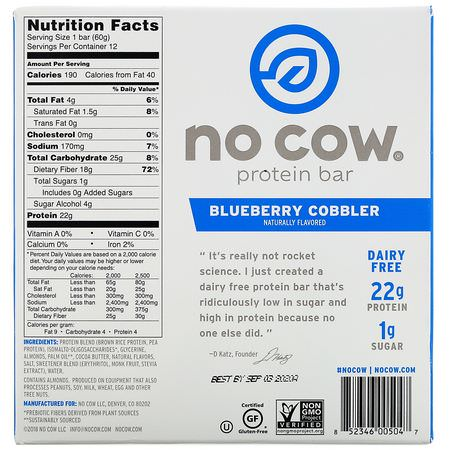 No Cow, Plant Based Protein Bars