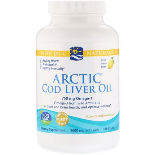 Nordic Naturals, Arctic Cod Liver Oil, Lemon, 1000 mg, 180 Soft Gels Review