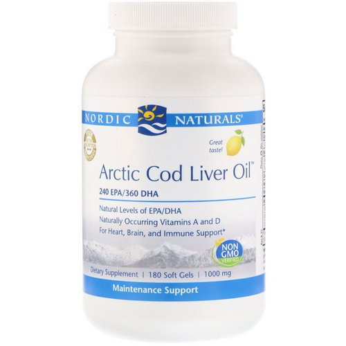 Nordic Naturals, Arctic Cod Liver Oil, Lemon, 1000 mg, 180 Softgels Review