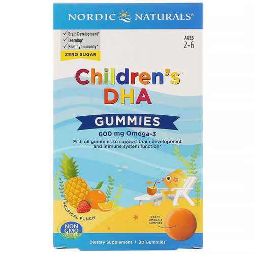 Nordic Naturals, Children's DHA Gummies, Tropical Punch, 600 mg, 30 Gummies Review