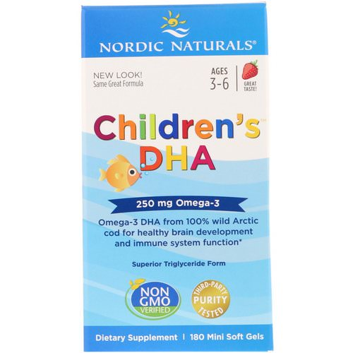 Nordic Naturals, Children's DHA, Strawberry, 250 mg, 180 Mini Soft Gels Review