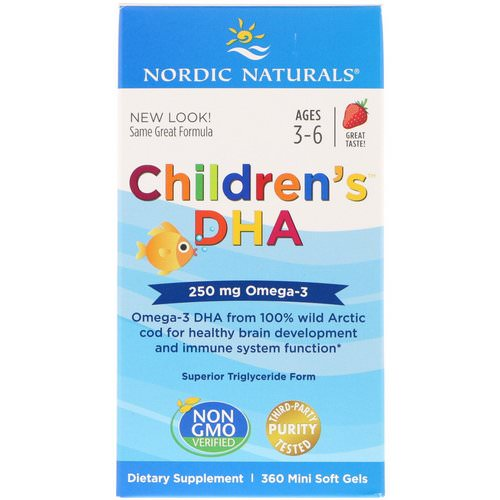 Nordic Naturals, Children's DHA, Strawberry, 360 Mini Soft Gels Review