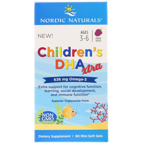 Nordic Naturals, Children's DHA Xtra, Berry Punch, 636 mg, 90 Mini Soft Gels Review