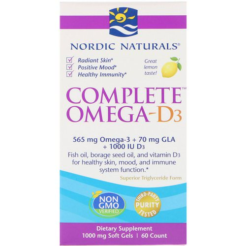 Nordic Naturals, Complete Omega-D3, Lemon, 1,000 mg, 60 Soft Gels Review