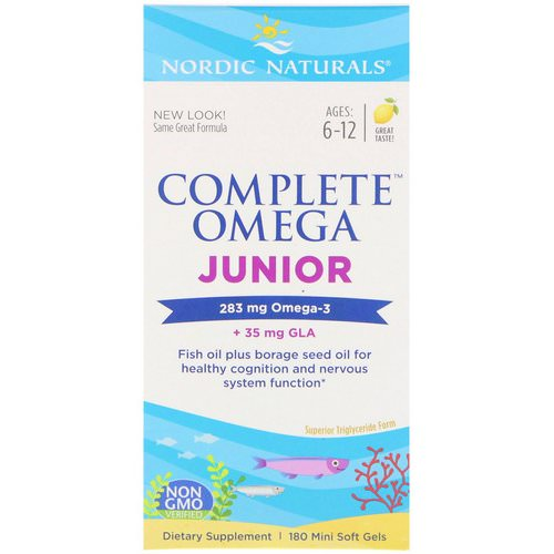 Nordic Naturals, Complete Omega Junior, Lemon, 180 Mini Soft Gels Review