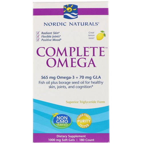 Nordic Naturals, Complete Omega, Lemon, 1000 mg, 180 Soft Gels Review