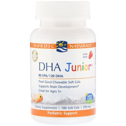 Nordic Naturals, DHA Junior, Strawberry, 250 mg, 180 Soft Gels Review