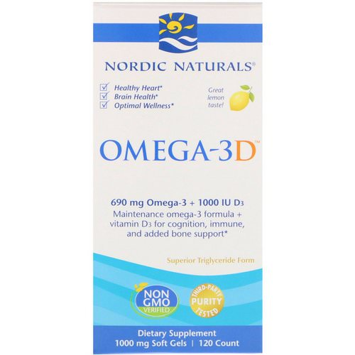 Nordic Naturals, Omega-3D, Lemon, 1000 mg, 120 Soft Gels Review