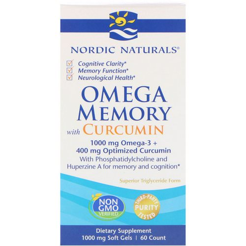 Nordic Naturals, Omega Memory with Curcumin, 1000 mg, 60 Soft Gels Review