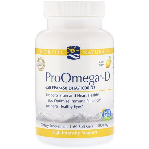 Nordic Naturals, ProOmega-D, Lemon, 1,000 mg, 60 Soft Gels Review