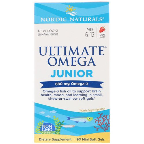 Nordic Naturals, Ultimate Omega Junior, Strawberry, 680 mg, 90 Mini Soft Gels Review