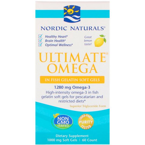 Nordic Naturals, Ultimate Omega, Lemon, 1,000 mg, 60 Soft Gels Review