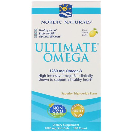 Nordic Naturals, Ultimate Omega, Lemon, 1,280 mg, 180 Soft Gels Review