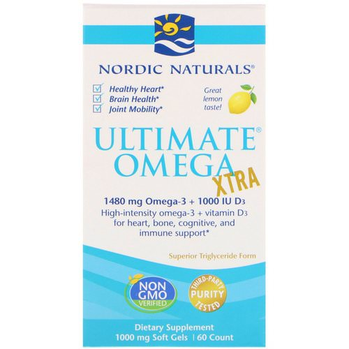 Nordic Naturals, Ultimate Omega Xtra, Lemon, 1,000 mg, 60 Soft Gels Review