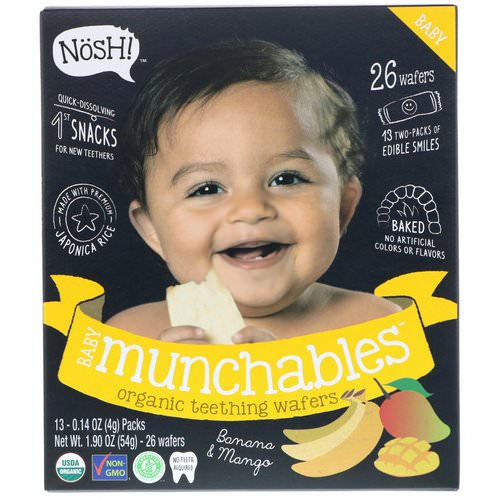 NosH! Baby Munchables, Organic Teething Wafers, Banana & Mango, 13 Packs, 0.14 oz (4 g) Each Review