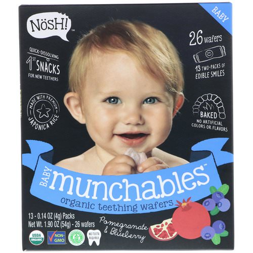 NosH! Baby Munchables, Organic Teething Wafers, Pomegranate & Blueberry, 13 Packs, 0.14 oz (4 g) Each Review