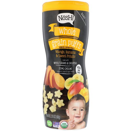 NosH! Baby, Whole Grain Puffs, Organic Cereal Snack, Mango, Banana & Sweet Potato, 2.10 oz (60 g) Review