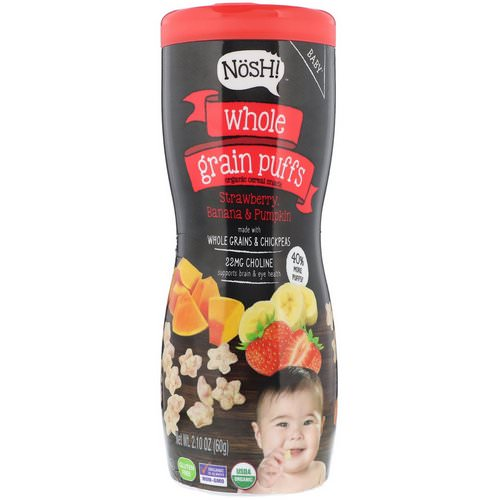 NosH! Baby, Whole Grain Puffs, Organic Cereal Snack, Strawberry, Banana & Pumpkin, 2.10 oz (60 g) Review