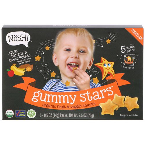 NosH! Toddler Gummy Stars, Organic Fruit & Veggie Snacks, Apple, Banana & Sweet Potato, 5 Packs, 0.5 oz (14 g) Each Review