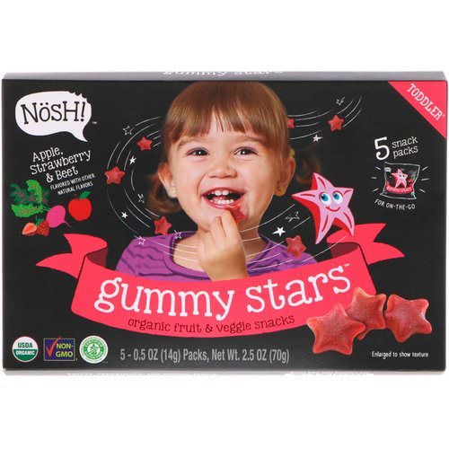 NosH! Toddler Gummy Stars, Organic Fruit & Veggie Snacks, Apple, Strawberry & Beet, 5 Packs, 0.5 oz (14 g) Each Review