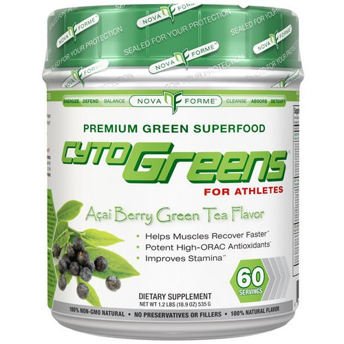NovaForme, CytoGreens, Premium Green Superfood for Athletes, Acai Berry Green Tea Flavor, 1.2 lbs (535 g) Review