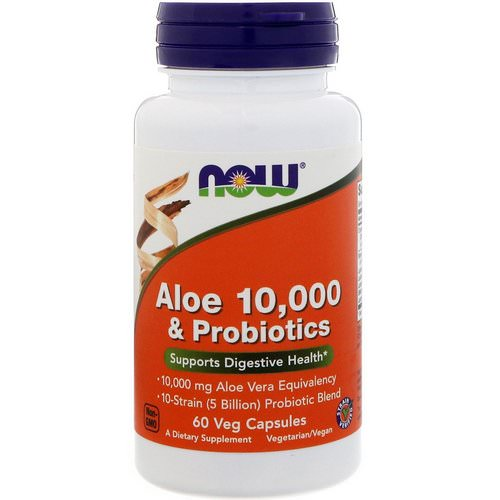 Now Foods, Aloe 10,000 & Probiotics, 60 Veg Capsules Review