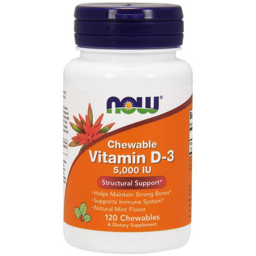 Now Foods, Chewable Vitamin D-3, Natural Mint Flavor, 5,000 IU, 120 Chewables Review