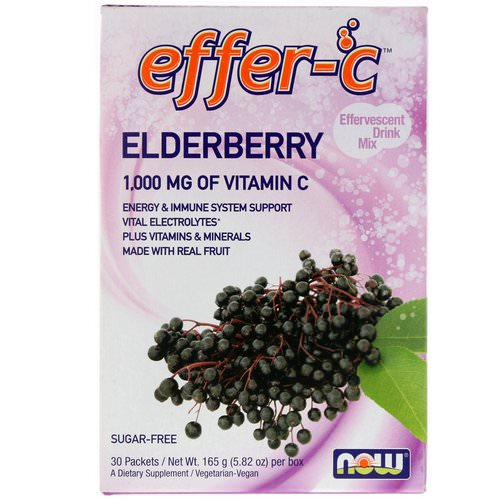 Now Foods, Effer-C, Effervescent Drink Mix, Elderberry, 30 Packets, 5.82 oz (165g) Review