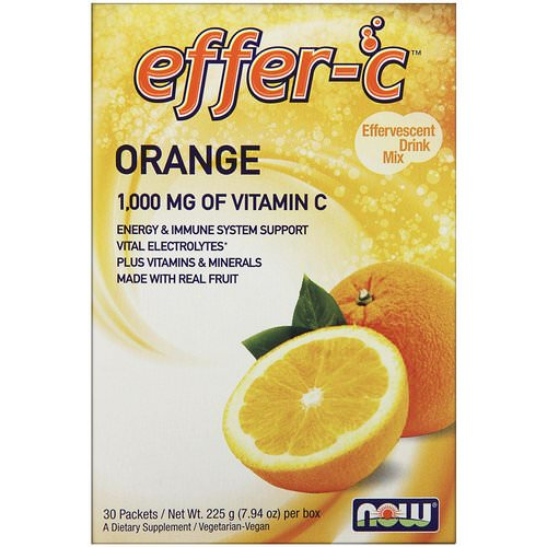 Now Foods, Effer-C, Effervescent Drink Mix, Orange, 30 Packets, 7.5 g Each Review