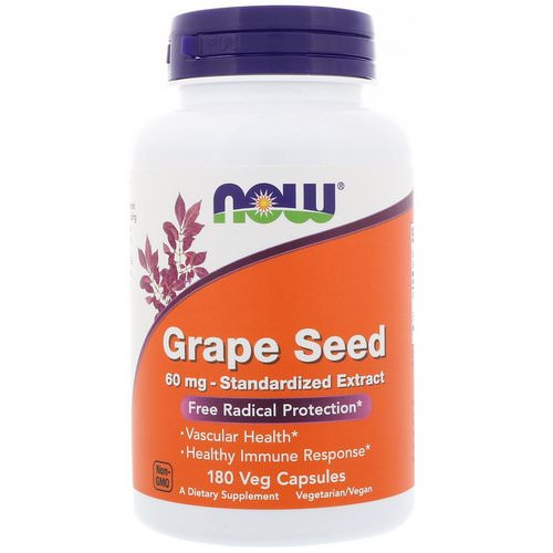 Now Foods, Grape Seed, Standardized Extract, 60 mg, 180 Veg Capsules Review
