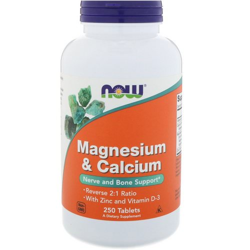 Now Foods, Magnesium & Calcium, Reverse 2:1 Ratio with Zinc and Vitamin D-3 250 Tablets Review