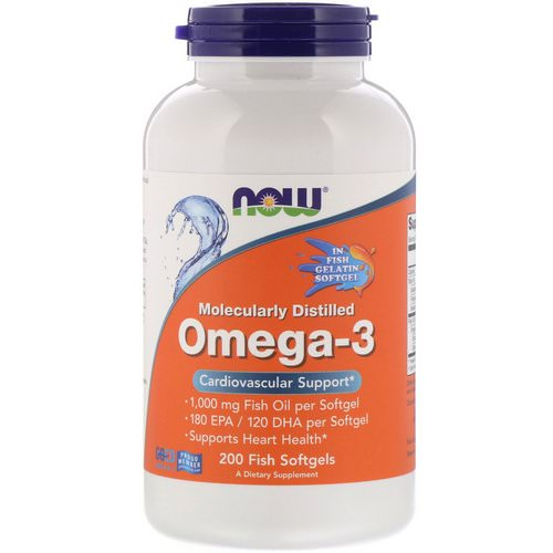 Now Foods, Molecularly Distilled Omega-3, 180 EPA/120 DHA, 200 Fish Softgels Review