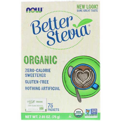 Now Foods, Organic Better Stevia, Zero-Calorie Sweetener, 75 Packets, 2.65 oz (75 g) Review