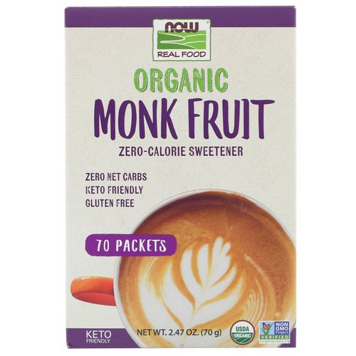 Now Foods, Real Food, Organic Monk Fruit Zero-Calorie Sweetener, 70 Packets, 2.47 oz (70 g) Review